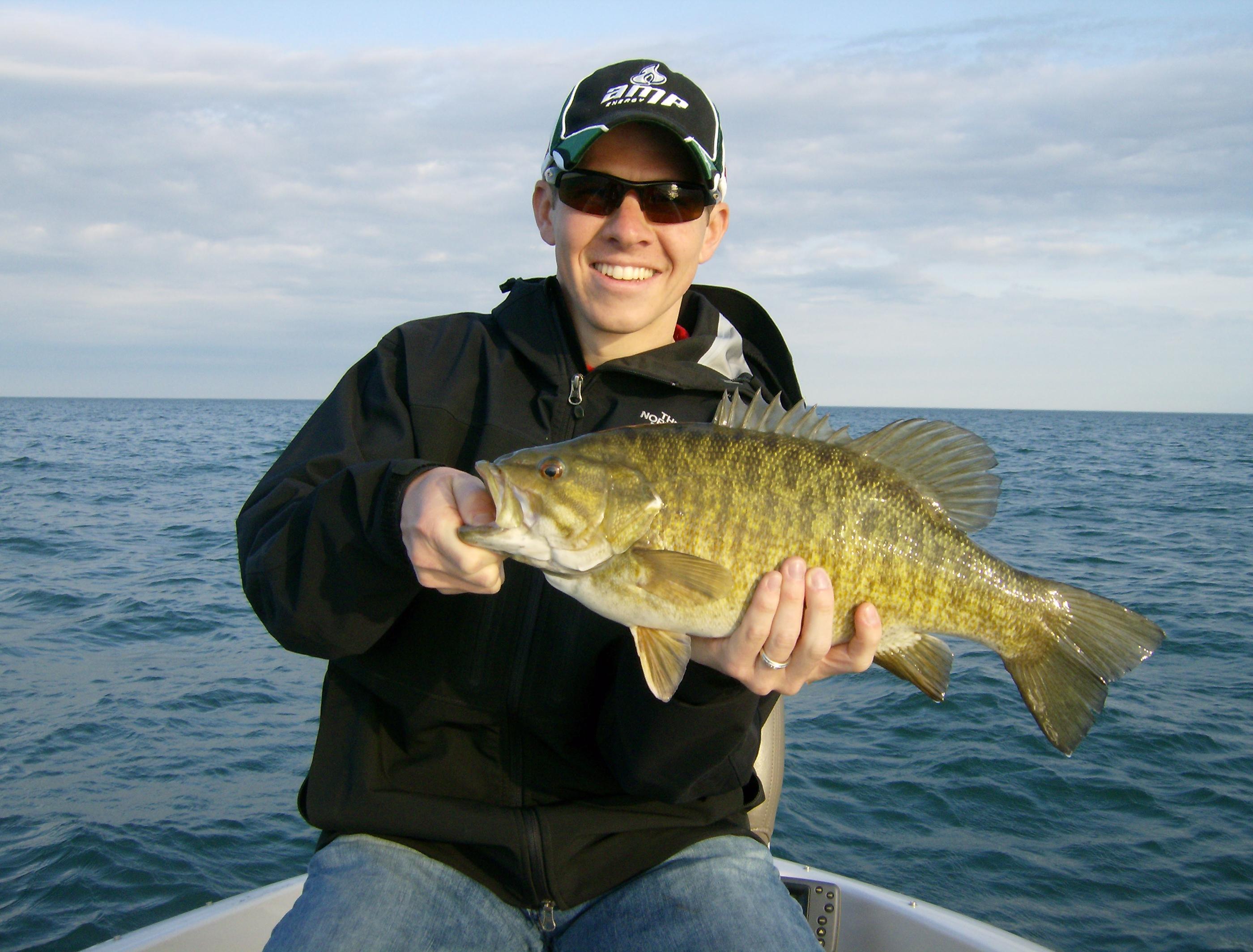Trohpy size Lake Erie smallmouth bass